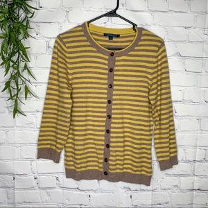 Boden yellow & brown button up cardigan sz 12